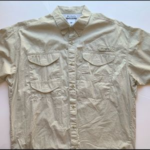 Columbia Netted Fishing Shirt Size Large Beige